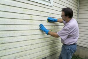 Man cleaning his Waycross siding